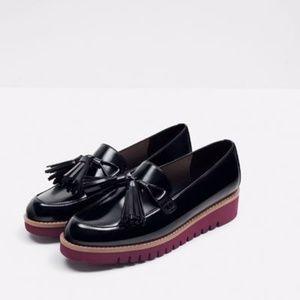 Zara Woman Black Patent Oxford Tassel Loafer 40 / 9